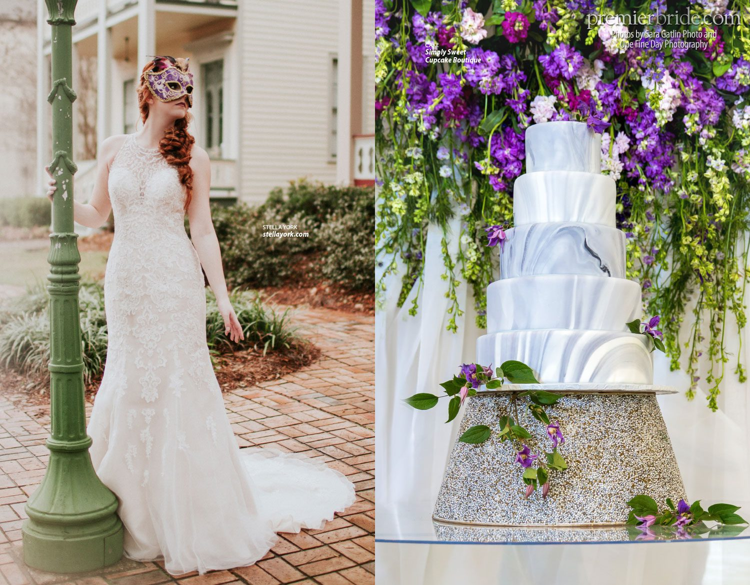 Stella York, Cake by Simply Sweet Cupcake Boutique, photos by Sara Gatlin Photo and One Fine Day Photography