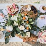 Romantic table setting for outdoor wedding