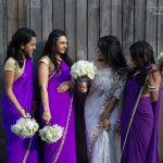 purple chiffon sarees edged with pearl borders