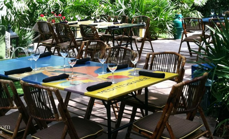 W South Beach hand painted tables by Yoemir Alfonso