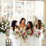 Cascading bouquets of bride and bridesmaids