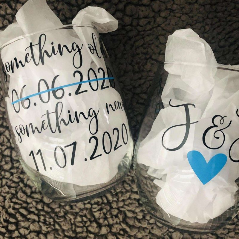 Postponed Wedding Wine Glasses